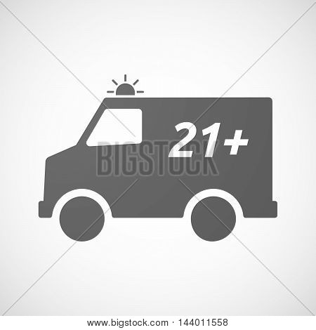 Isolated Ambulance Icon With    The Text 21+