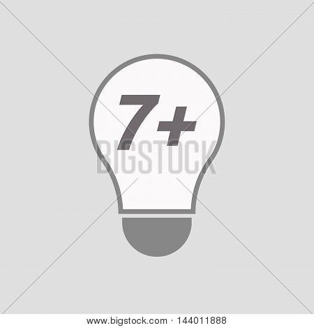 Isolated Line Art Light Bulb Icon With    The Text 7+