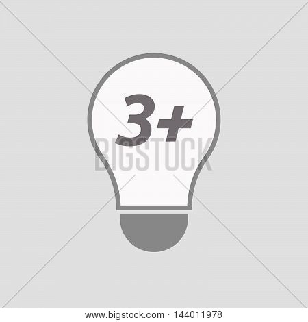 Isolated Line Art Light Bulb Icon With    The Text 3+