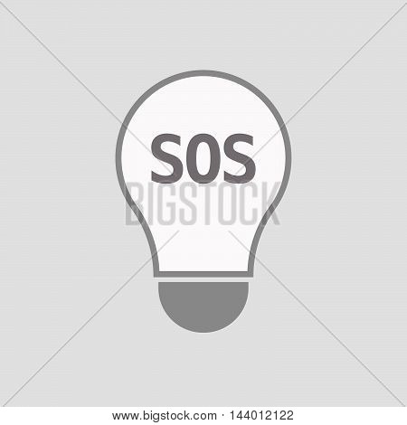 Isolated Line Art Light Bulb Icon With    The Text Sos
