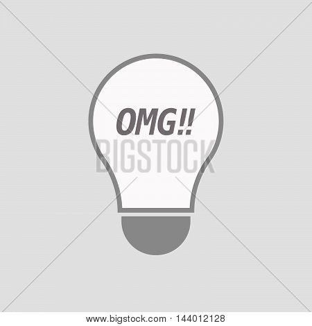 Isolated Line Art Light Bulb Icon With    The Text Omg!!