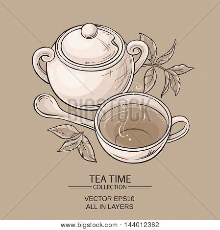 Illustration with cup of tea sugar bowl and tea leaves on brown background