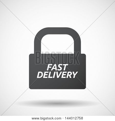 Isolated Closed Lock Pad Icon With  The Text Fast Delivery