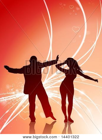 Sexy Couple on Abstract Valentine's Day Background Original Illustration