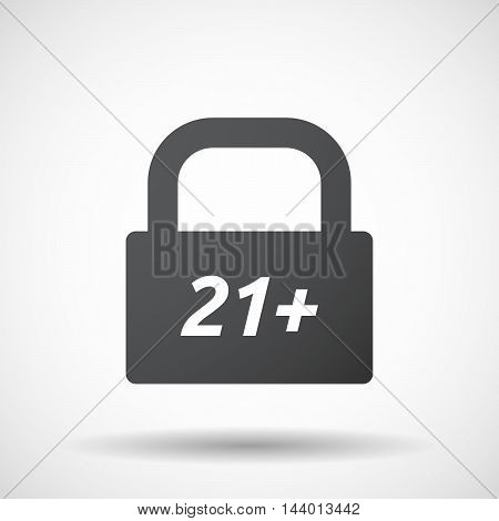 Isolated Closed Lock Pad Icon With    The Text 21+