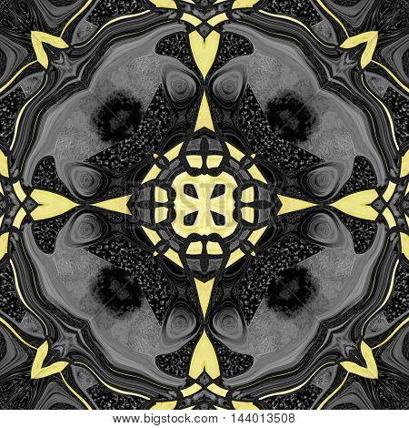 Abstract circular seamless pattern with marble texture. Black and yellow kaleidoscopic  seamless pattern with stars