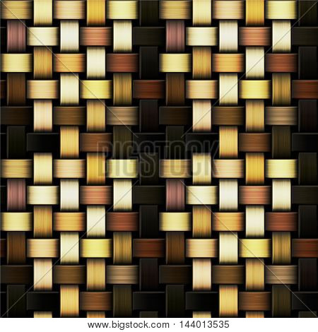 Wooden seamless intertwined pattern resembling wicker basket. Brown, yellow, orange and white natural seamless pattern with wooden texture