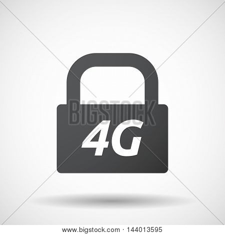 Isolated Closed Lock Pad Icon With    The Text 4G