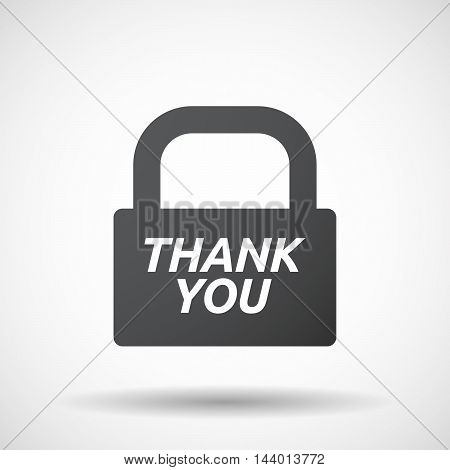 Isolated Closed Lock Pad Icon With    The Text Thank You