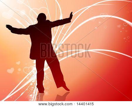 Handsome Man on Abstract Valentine's Day Light Background Original Illustration