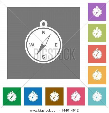 Compass flat icon set on color square background.