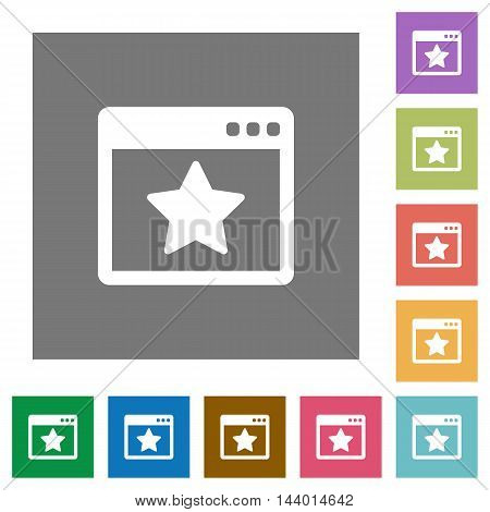 Favorite application flat icon set on color square background.