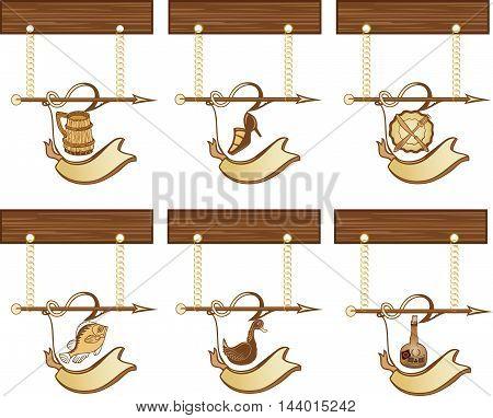 Set of wooden vintage signboards, vector illustration