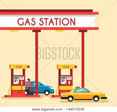 Gas filling station. Energy. Vector flat illustration. Gasoline and oil station. Happy customers