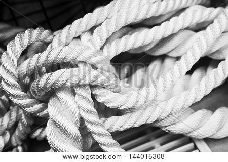 White Nautical Rope Bundle, Closeup Monochrome