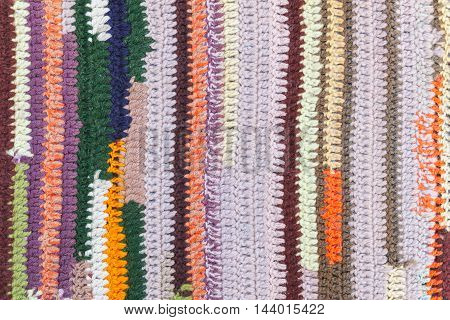 Colorful Striped Abstract Pattern Of Knitted Fabric