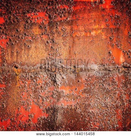 Old Red Rusted Iron Wall, Square Background Texture