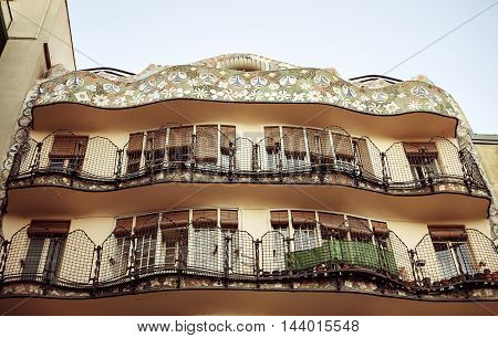 Details of the facade of art noveau houses in Barcelona.