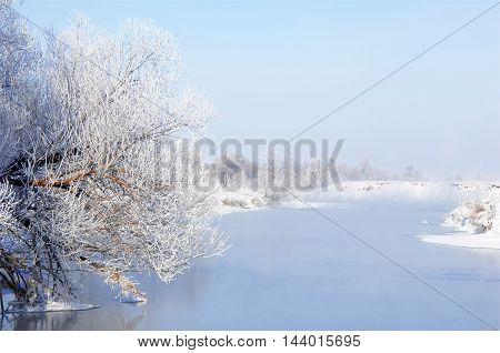 Winter River. Ice And Fog. Winter River. Ice And Fog