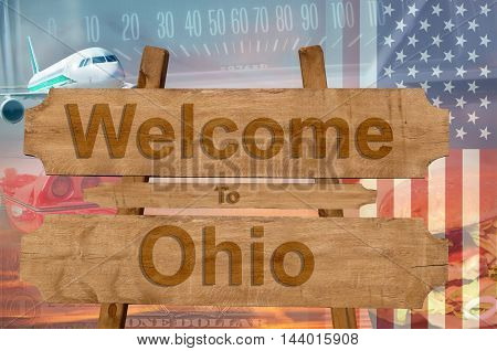 Welcome To Ohio State In Usa Sign On Wood, Travell Theme