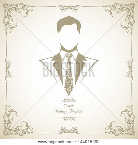 Vintage template with ornamental decorative frame and man in suit and tie symbol