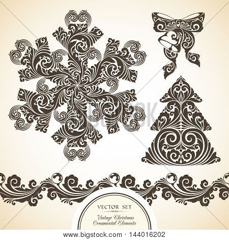 Vector set of vintage decorative ornamental objects and symbols of Christmas