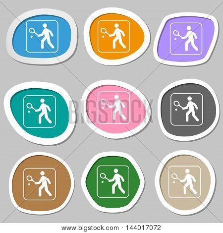 Tennis Player Symbols. Multicolored Paper Stickers. Vector