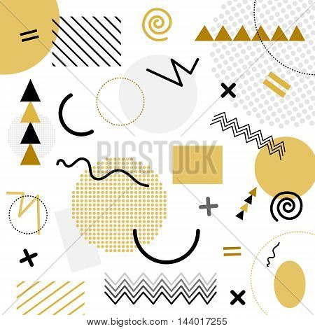 White And Gold Abstract Geometric Chaotic Pattern. Memphis Style. Use For Fashion, Cards, Posters, P
