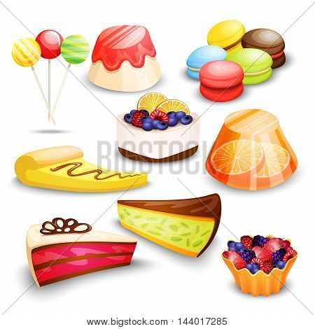 Highly detailed dessert set with cake, macaroon, candy and other sweets on white background
