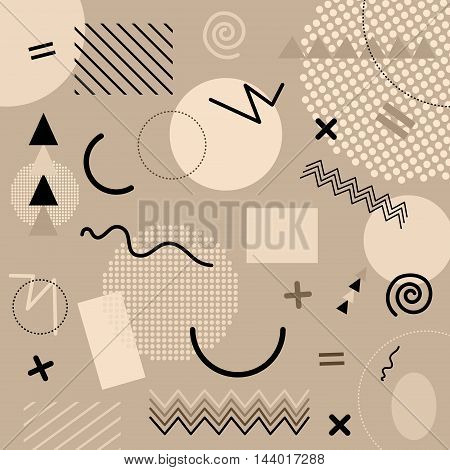 Brown Abstract Geometric Chaotic Pattern. Memphis Style. Use For Fashion, Cards, Posters, Presentati