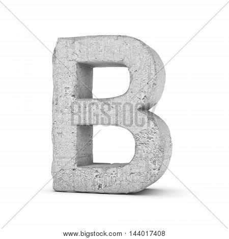 3D rendering concrete letter B isolated on white background. Signs and symbols. Alphabet. Cracked surface. Textured materials. Cement object.