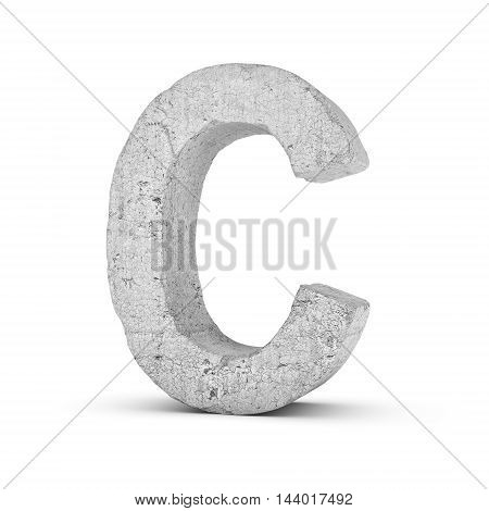 3D rendering concrete letter C isolated on white background. Signs and symbols. Alphabet. Cracked surface. Textured materials. Cement object.