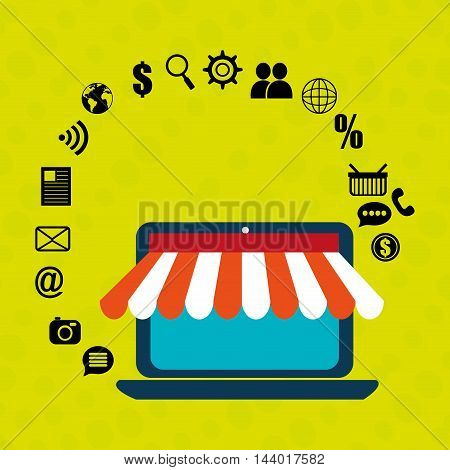 laptop e-commerce store buy vector illustration eps 10