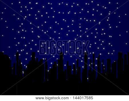 A random spread star field over a black cityscape background