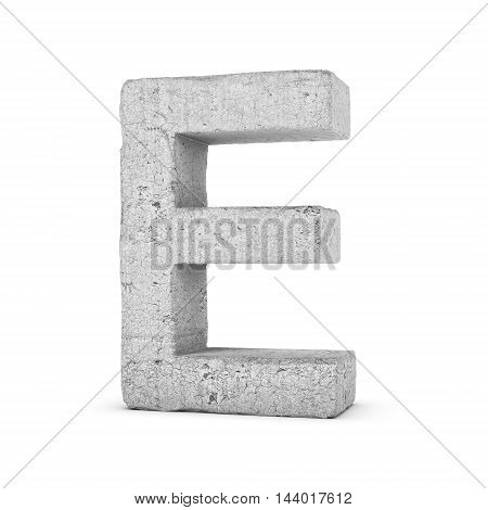 3D rendering concrete letter E isolated on white background. Signs and symbols. Alphabet. Cracked surface. Textured materials. Cement object.