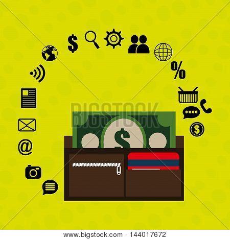 wallet bills money buy vector illustration eps 10