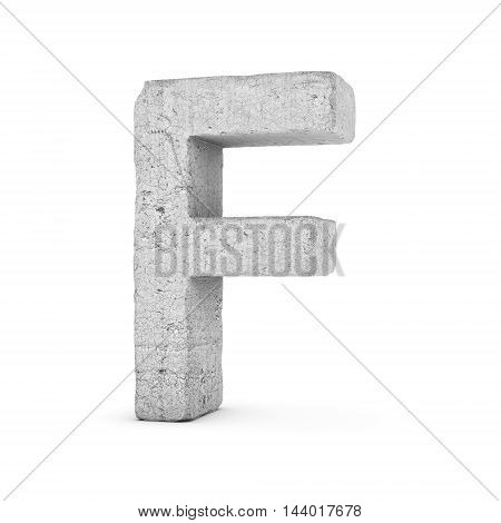 3D rendering concrete letter F isolated on white background. Signs and symbols. Alphabet. Cracked surface. Textured materials. Cement object.