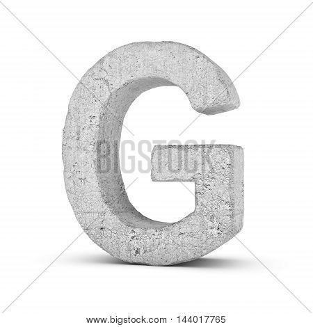 3D rendering concrete letter G isolated on white background. Signs and symbols. Alphabet. Cracked surface. Textured materials. Cement object.