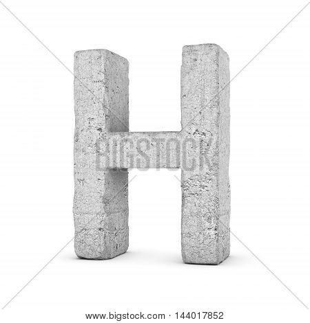 3D rendering concrete letter H isolated on white background. Signs and symbols. Alphabet. Cracked surface. Textured materials. Cement object.