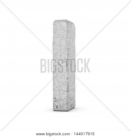3D rendering concrete letter I isolated on white background. Signs and symbols. Alphabet. Cracked surface. Textured materials. Cement object.