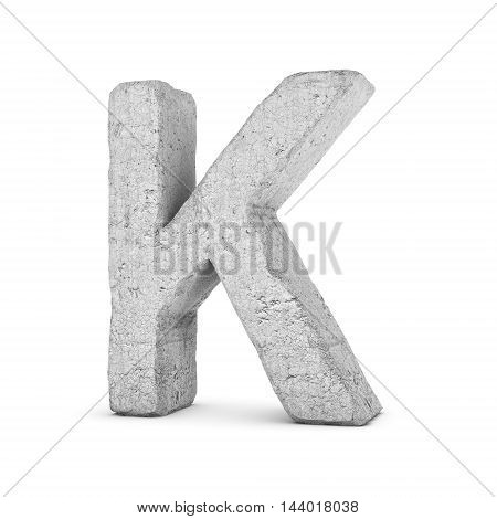 3D rendering concrete letter K isolated on white background. Signs and symbols. Alphabet. Cracked surface. Textured materials. Cement object.
