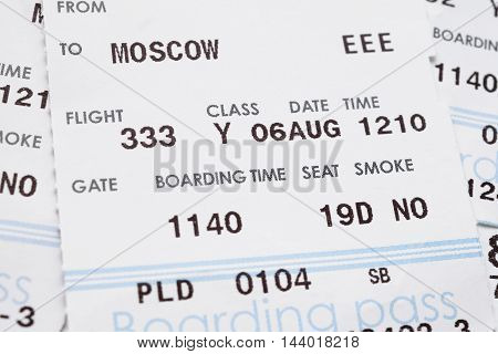 Boarding pass close up for travel background