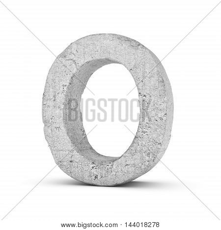 3D rendering concrete letter O isolated on white background. Signs and symbols. Alphabet. Cracked surface. Textured materials. Cement object.