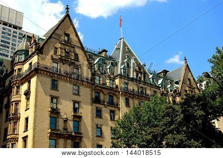 New York City - August 21 2004: The legendary Dakota luxury apartment building at West 72nd Street and Central Park West