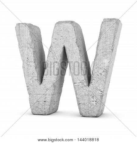 3D rendering concrete letter W isolated on white background. Signs and symbols. Alphabet. Cracked surface. Textured materials. Cement object.