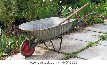 The empty garden wheelbarrow between flower beds