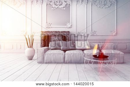 Bright classical living room interior with wainscoting and paneling on the walls and a comfortable sofa on a bare white wooden floor, sun glow coming though a window to the left, 3d rendering