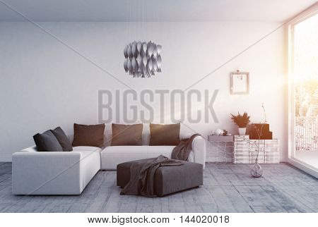 Brilliantly lit room with modern furnishings and a floor to ceiling window. 3d Rendering.