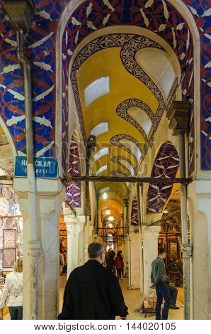 ISTANBUL, TURKEY - APRIL 4, 2013: Grand Bazaar in Istanbul. It is one of the largest and oldest covered markets in the world, with 61 covered streets and over 3,000 shops