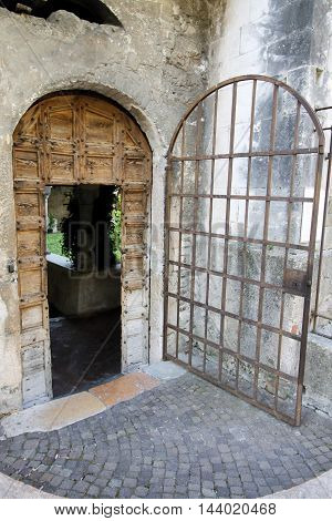 ancient door of a old building in northern Italy